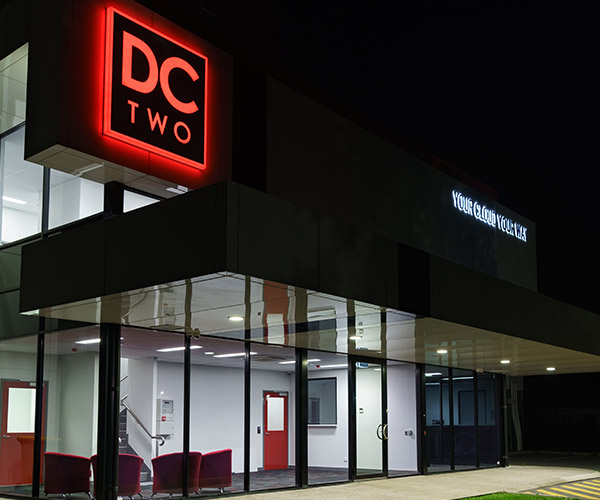 The new DC Two Bibra Lake data centre illuminated at night