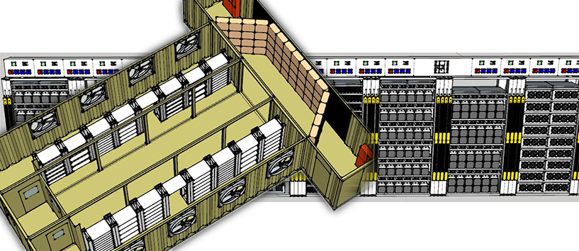 A technical drawing of the modular data centre design DC Two will be deploying at Collie